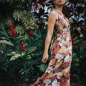 Dresses & Skirts - Halter Maxi Dress, Hawaiian print